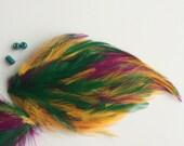 FEATHER PADS , Mardi Gras , Green, purple, yellow   / 61