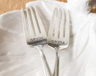 Vintage Cake Forks - Groom and Groom