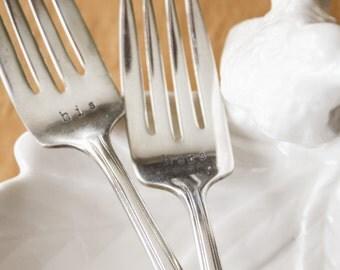 Vintage Wedding Forks - His & Hers - cake forks