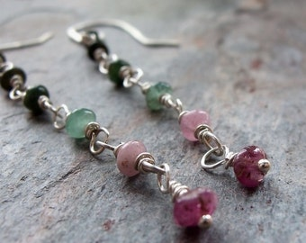SALE 25% OFF Tourmaline Sterling Silver Wire Wrapped Earrings