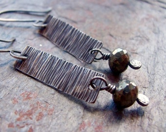 Pyrite Sterling Silver Modern Earrings