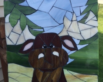 Stained Glass Mosaic Moose Tile