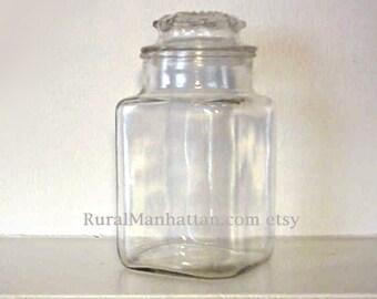 70s Small Glass Candy Jar Canister Apothecary Jar Lid Nut Jar Vanity Jar Candy Container Herb Jar Spice Jar Sugar Jar Flour Jar Terrarium
