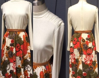 Vintage cream 60's Dress. Fall Dress. Secretary dress. Day dress Autumn Colors