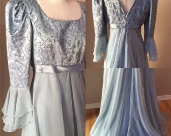 Vintage 50's. Baby Blue Broque.Cinderella Dress. Fairy Princess Gown. Marie Antoinette,Winter Wonderland