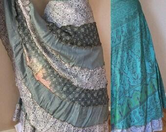 BOHEMIAN Goddess Skirt, Morroccan Skirt,Aqua Green, Tiered Ruffles, Reversable Wrap Skirt, 70's Ethnic,Indian Skirt