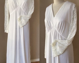 Wicked White Maxi Dress. 60's Lace Empire Waist Dress. Wedding,Halloween,Dead Bride, Day Of The Dead