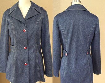 Denim 70's,  Hipster Jacket,Woman's jacket, red & White buttoned coat