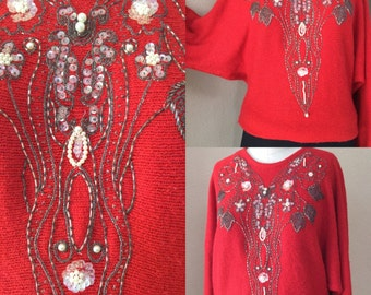 Red Batwing Sweater,Holiday Fabulous, Hand Beaded Sweater, 70's/80's