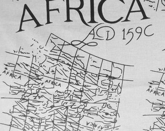 Nigerian Woven Cotton Fabric Graphic Map of Africa - 1 Yard
