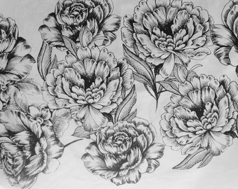 Large Black White Rose Floral Border Extra Wide Designer Cotton Fabric - 1/2 Yard