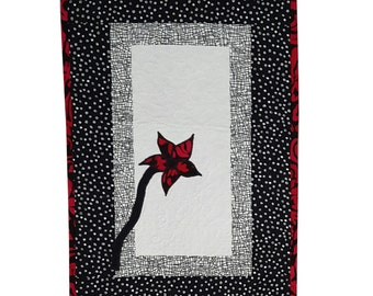 Art Quilt Fabric Wall Hanging Red Flower Applique