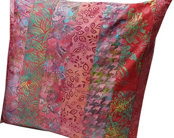 14 inch Pillow Sham Cover in Pink Batik Fabrics