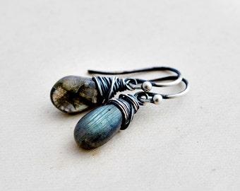Drop Earrings, Labradorite Earrings, Gemstone Earrings, Dangle Earrings, Sterling Silver, Labradorite Jewelry, Crystal Earrings, PoleStar