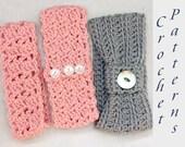 Three Headband Crochet Pattern, Beginner Crochet Pattern, Head Band Pattern,  Ear Warmer Pattern, Stocking Stuffer, Digital Download