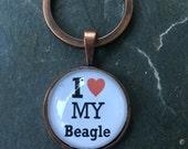 Beagle love - glass keychain
