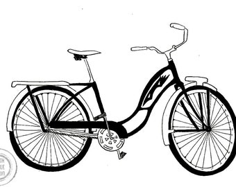 1970's retro bike pen and ink illustration print
