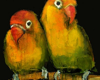 LOVEBIRDS LOVE BIRD  Abstract Art Giclee print from my original oil painting