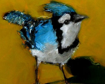 BLUEJAY BLUE BIRD  Abstract Art Giclee print from my original oil painting