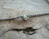 OOAK tiny rainbow quartz choker // nickel free jewelry // titanium coated quartz druzy choker necklace // HEY159