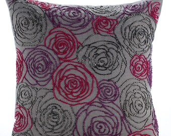 Grey Throw Pillow Covers 20x20 Embroidered Linen Decorative Pillows for Couch - Rose Diva