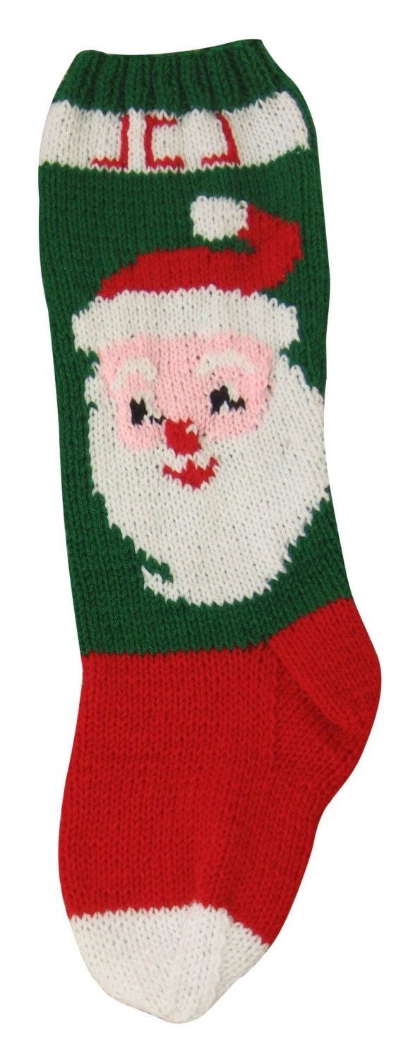 Knit Christmas Stockings Patterns : Knit Christmas Stocking Pattern Santa Claus Knit Pattern