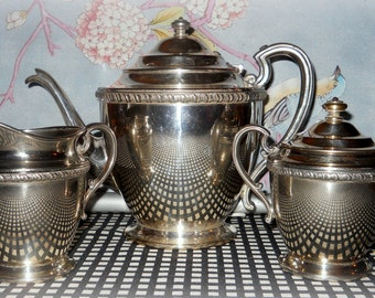 SALE 15% off - Deco Tea Set - Coffee Pot, Creamer, Sugar Bowl - 1900-1940 Friedman Silver Company Silverplate - Collectible, Serving