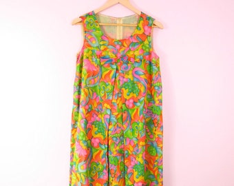 1960s Tropical Vintage Shift Dress S
