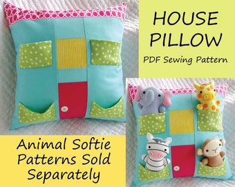 House Pillow Sewing Pattern - Tutorial - PDF ePATTERN - Softie Patterns Sold Separately