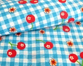 Vintage Cotton Yardage - Gingham Checks with Cherries - Aqua Blue and Red Fabric