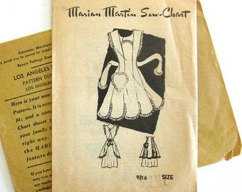 1940s Vintage Apron Sewing Pattern - Marian Martin 9216 - Bib Pinafore APRON Heart Pocket and Scalloped Hem / Small 14-16