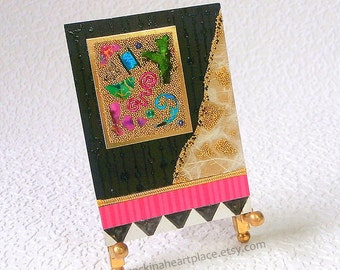 ACEO - Abstract Microbead  Collage art card