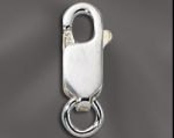 CLASPS, (5),12x4.5mm ,STERLING Silver, LOBSTER, Closure, Medium, Necklace, .925 Stamped, I
