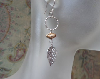 Silver Feather Earrigs with Picture Jasper, Earthy Feather Earrings