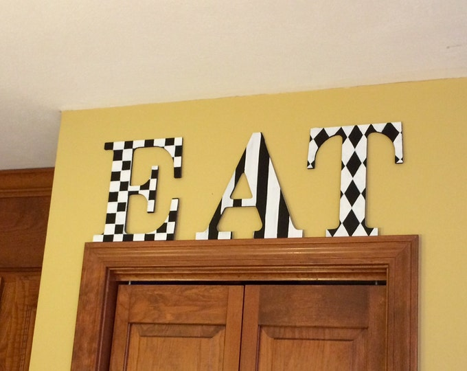Painted Wood Letter // Custom Painted Wood Letter // Harlequin Check Stripe