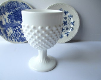 Large Vintage Fenton Milk Glass Hobnail Goblet