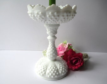 Vintage Fenton Milk Glass Hobnail Tall Candleholder and Candle Epergne Set
