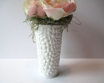 Vintage Floral Milk Glass Flower Vase - Unique and Lovely