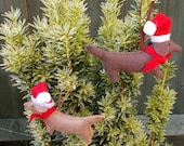 Two Felt Hanging Christmas Sausage Dog / Dachshund / Dachsie Decoration fragranced with Christmas Spice