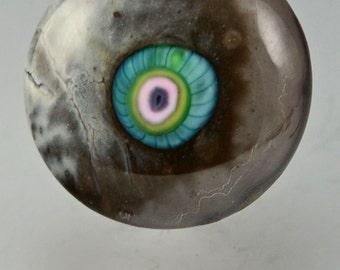 Gray Night ... glass CABOCHON artsy organic lampwork jewelry designer cabs  by GrowingEdgeGlass/ Mikelene Reusse