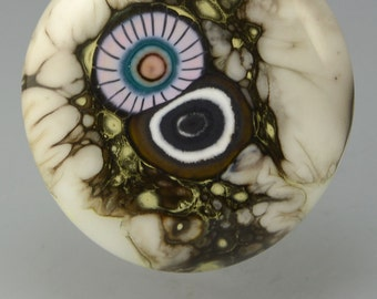 Seed ... glass CABOCHON artsy organic lampwork jewelry designer cabs  by GrowingEdgeGlass/ Mikelene Reusse