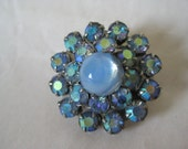 Flower Blue Rhinestone Brooch Aurora Moon Glow Moonstone Gold Vintage Pin