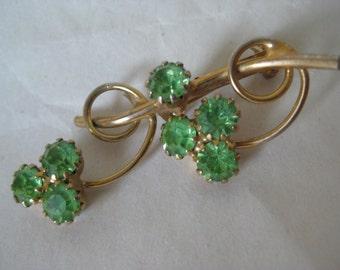 Flower Green Rhinestone Brooch Gold Vintage Pin
