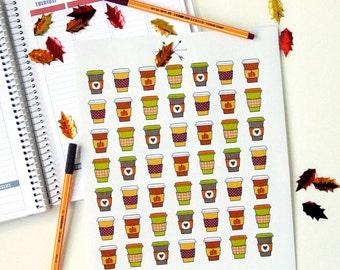 PRINTABLE Fall Coffee Addict Planner Sticker Set