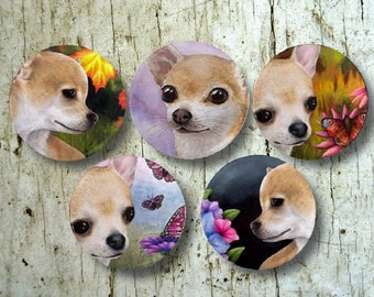 Set of 5 Round Fridge Magnets 1.75 inch Dogs 1 Chihuahua Art paintings by Lucie Dumas