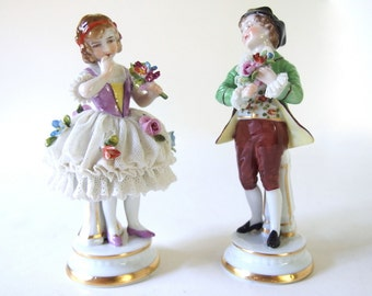 Vintage Mueller - Volkstedt Figurines, Ballerina and Boy with Flowers
