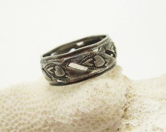 Sterling Heart Band Antique Ring Jewelry R6794