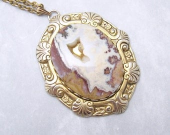 Large Quartz Pendant Necklace Vintage Jewelry N6795