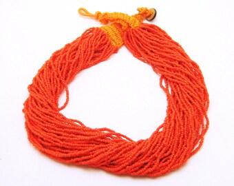 Vintage Torsade Orange Seed Bead Necklace N6807