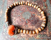 Olive Wood Beaded Healing Bracelet with Carnelian Crystal clasp